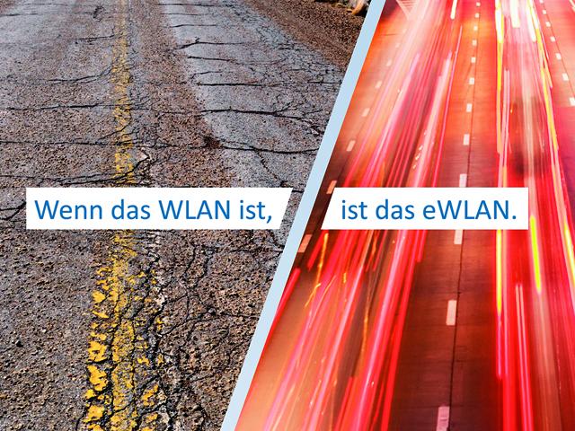 Zwei Ansichten von Straßen: Symbolbild zu WLAN und eWLAN im Vergleich