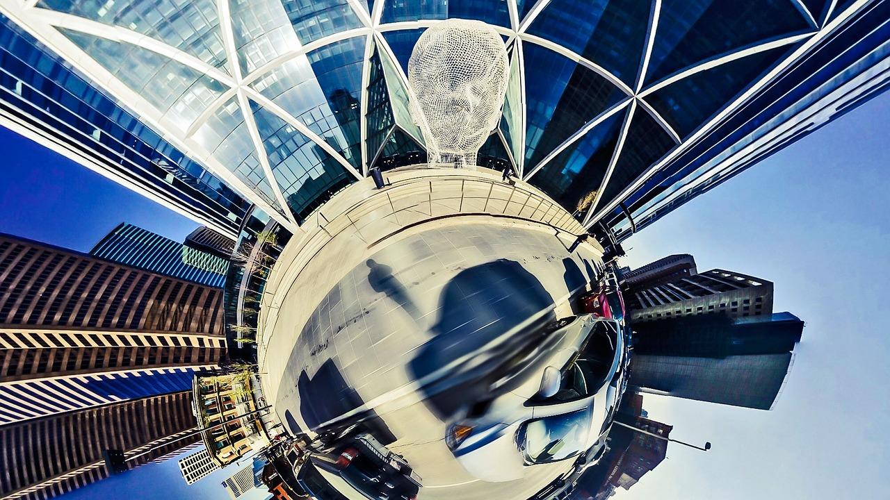 Verzerrte Darstellung einer Großstadtarchitektur