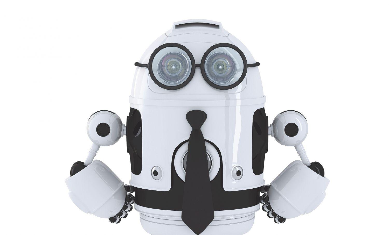 Ein weißer Roboter mit Krawatte und Brille