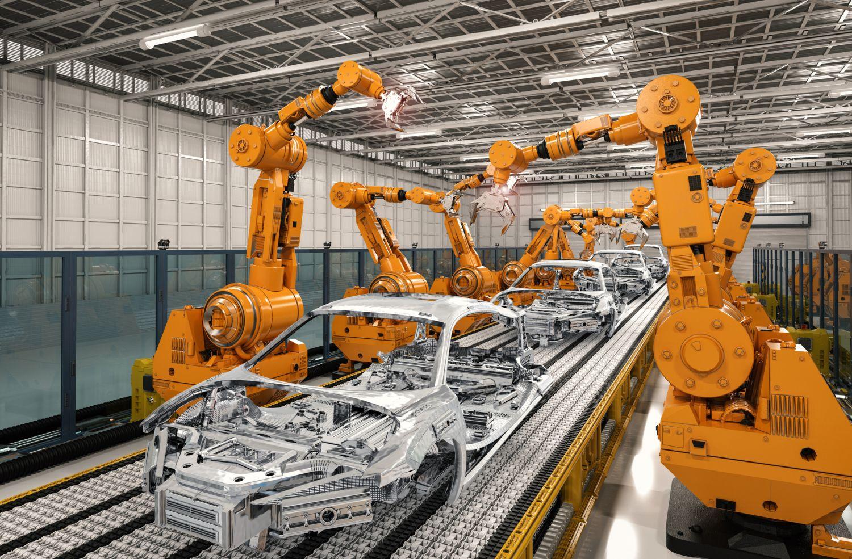 Maschinen bauen in einer Fabrik Autokarosserien. Thema smarte Fabrik
