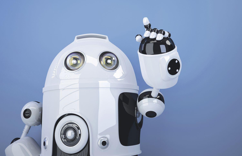 Ein Roboter hebt seinen Arm