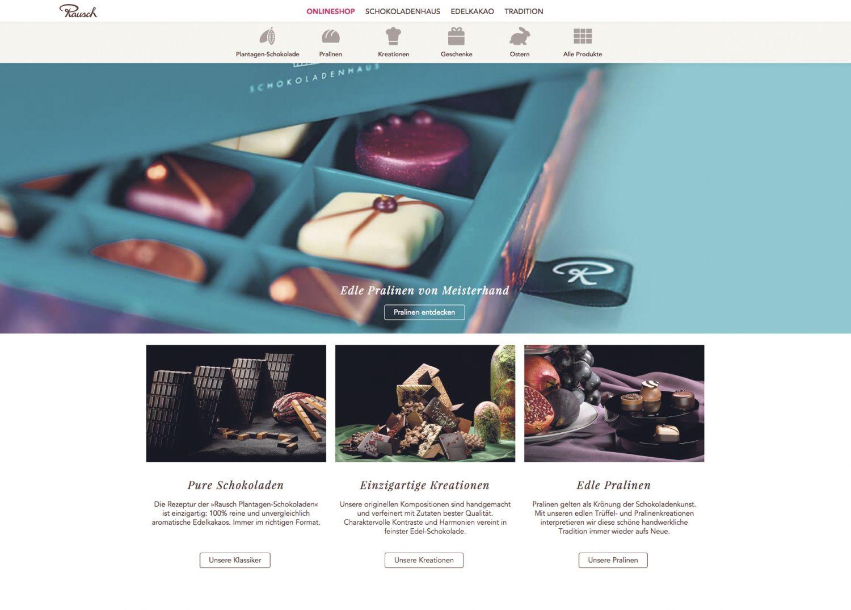 Screenshot des Online-Shops von Rausch